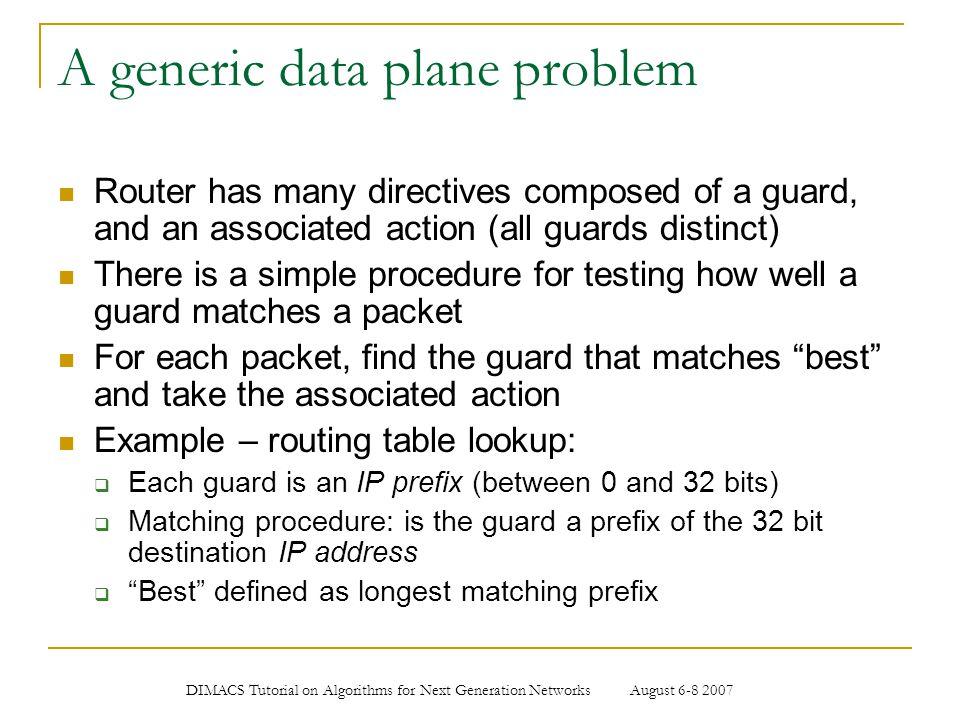 A generic data plane problem