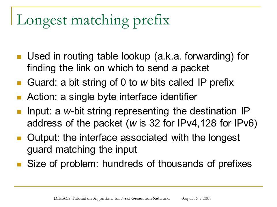 Longest matching prefix