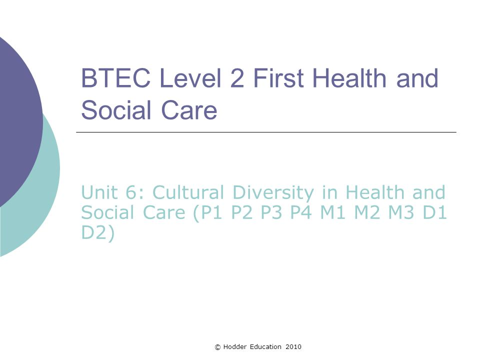 BTEC Level 3 Health and Social Care. Unit 2 task