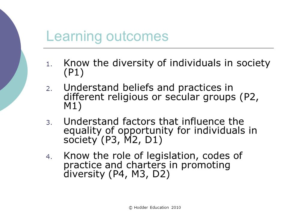 Learning outcomes Know the diversity of individuals in society (P1)