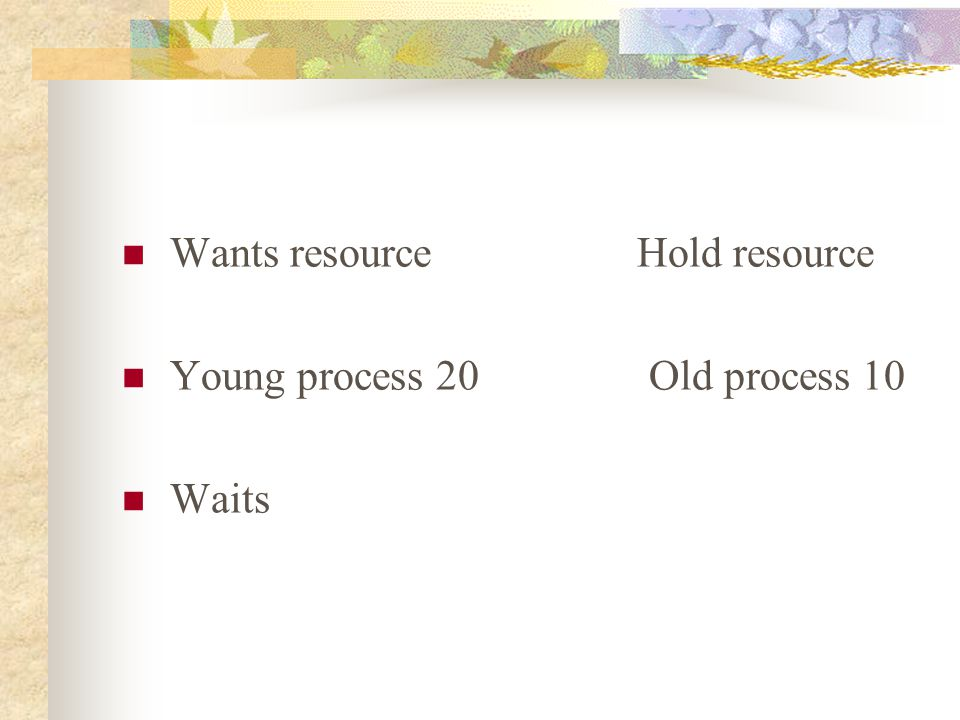 Wants resource Hold resource