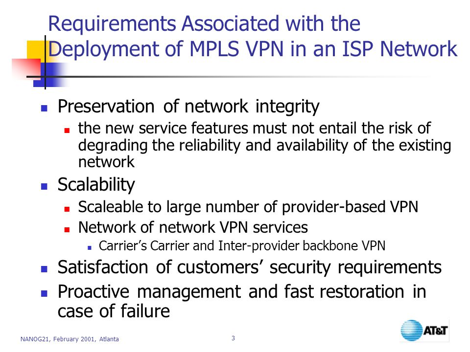 Requirements Associated with the Deployment of MPLS VPN in an ISP Network