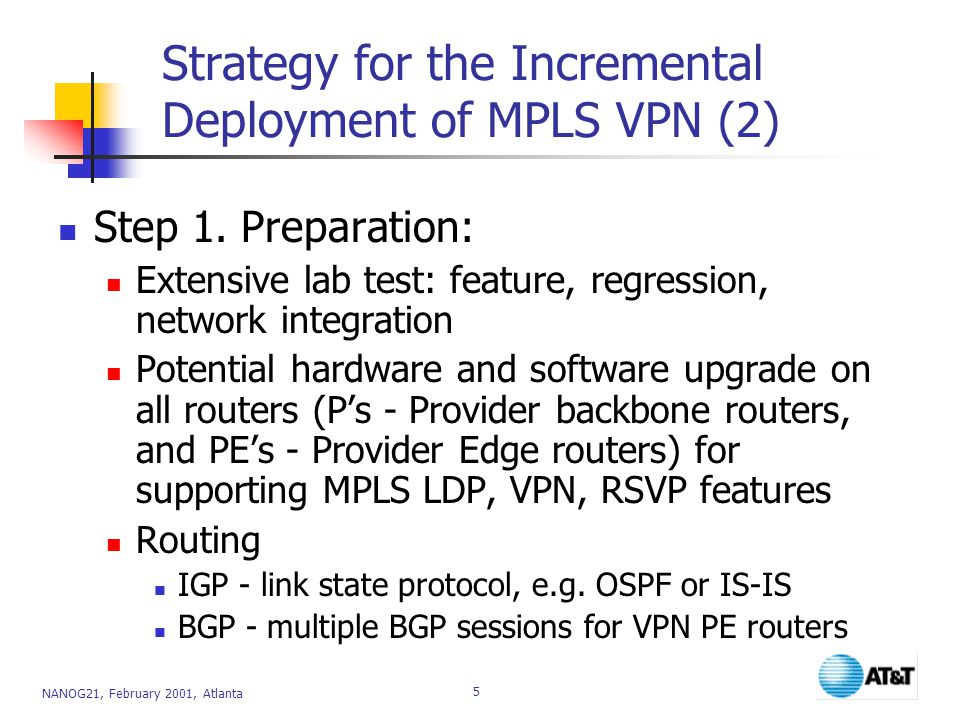 Strategy for the Incremental Deployment of MPLS VPN (2)