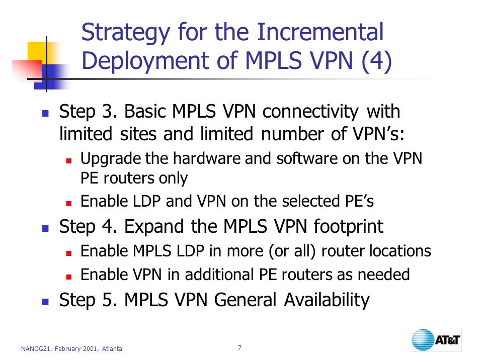 Strategy for the Incremental Deployment of MPLS VPN (4)