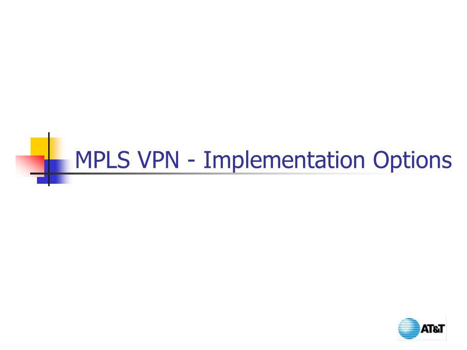 MPLS VPN - Implementation Options