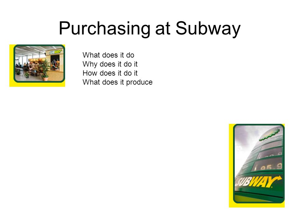 Purchasing at Subway What does it do Why does it do it