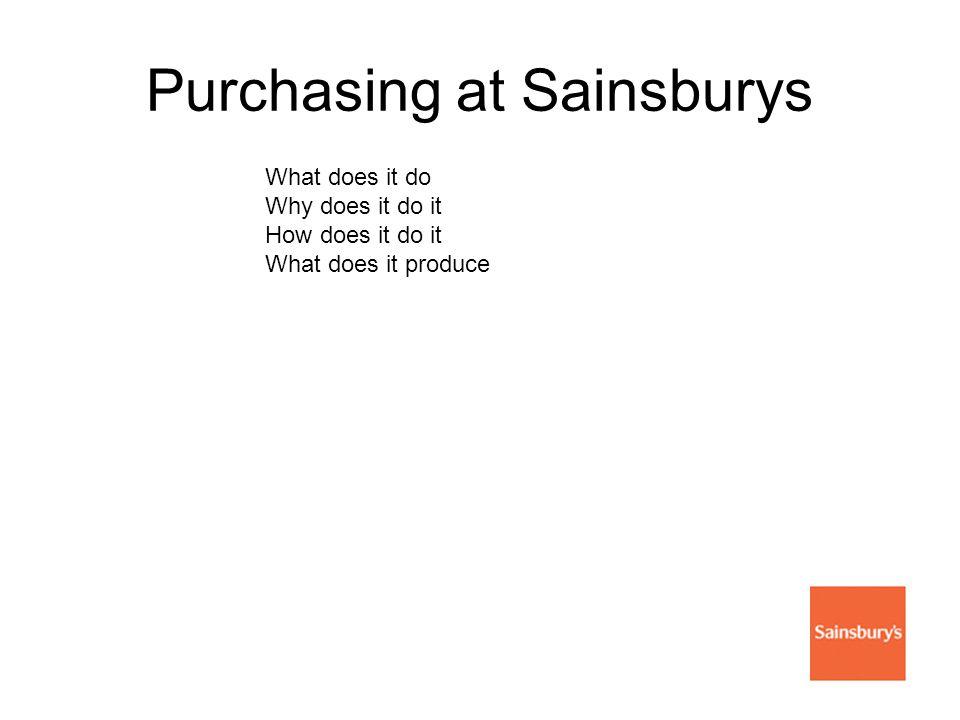 Purchasing at Sainsburys