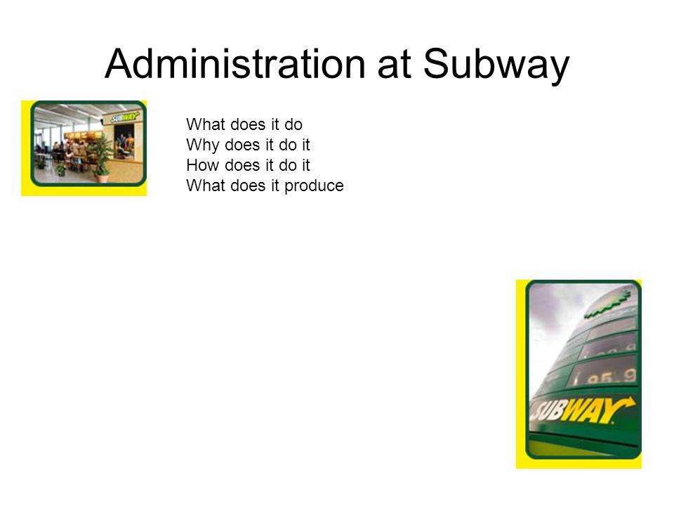 Administration at Subway
