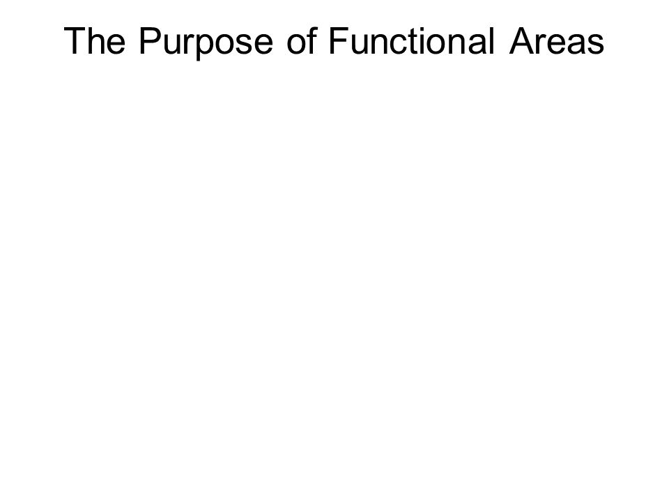 The Purpose of Functional Areas