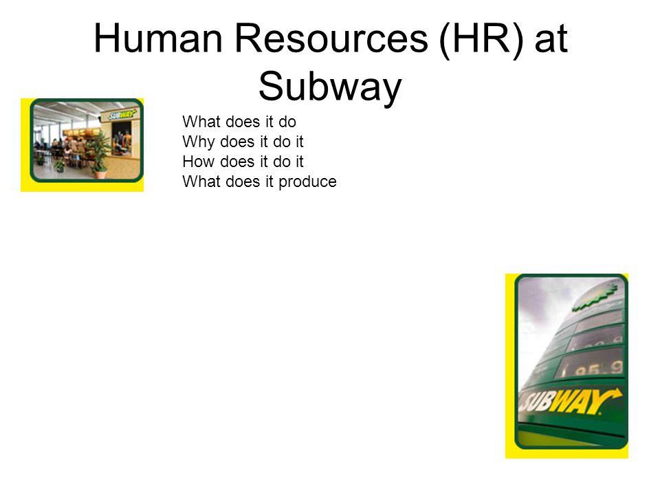 Human Resources (HR) at Subway