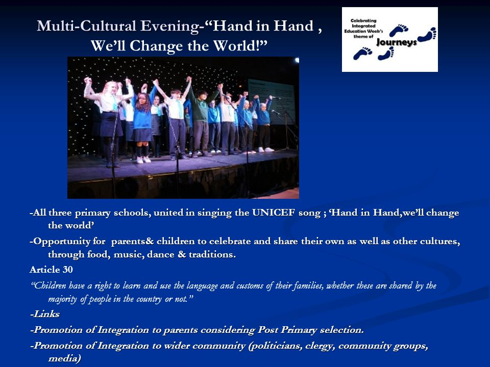Multi-Cultural Evening- Hand in Hand , We'll Change the World!