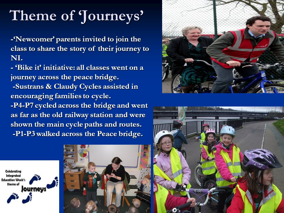 Theme of 'Journeys' -'Newcomer' parents invited to join the class to share the story of their journey to NI.
