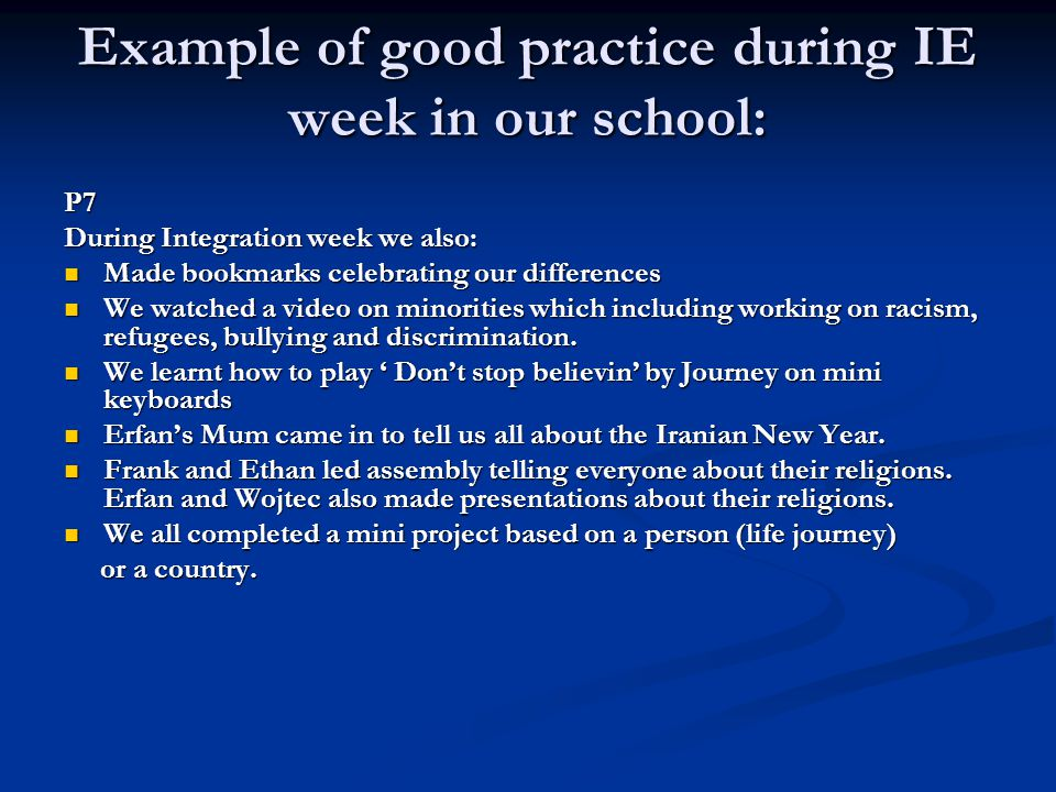 Example of good practice during IE week in our school: