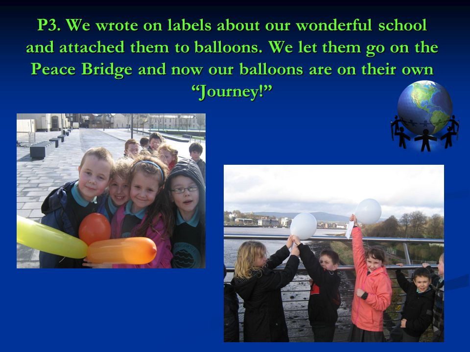 P3. We wrote on labels about our wonderful school and attached them to balloons.