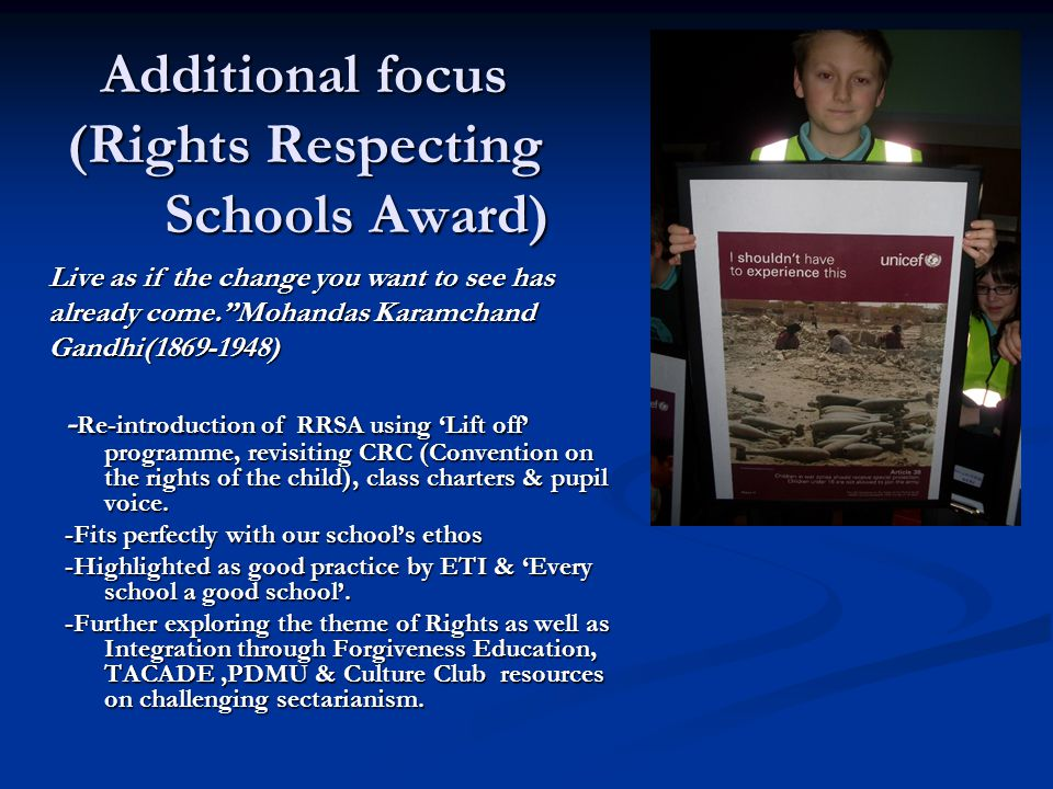 Additional focus (Rights Respecting Schools Award)