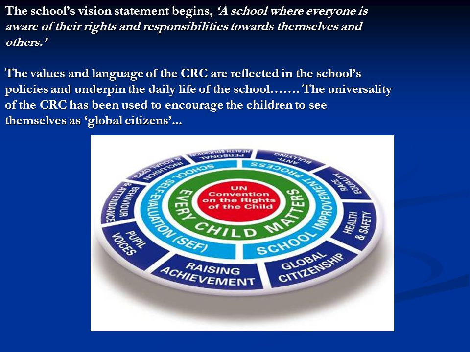 The school's vision statement begins, 'A school where everyone is