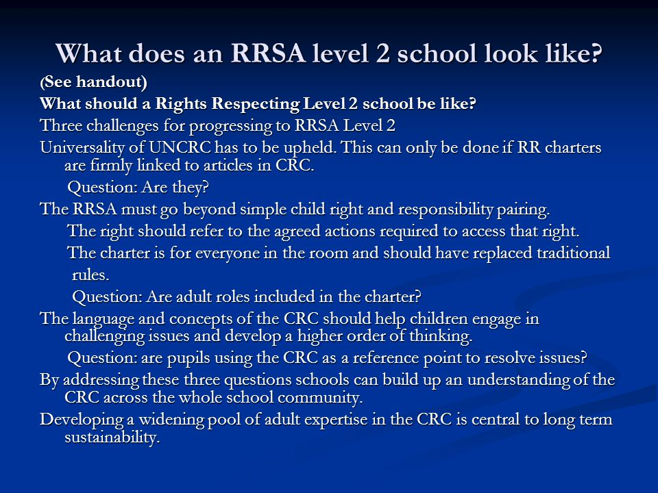 What does an RRSA level 2 school look like