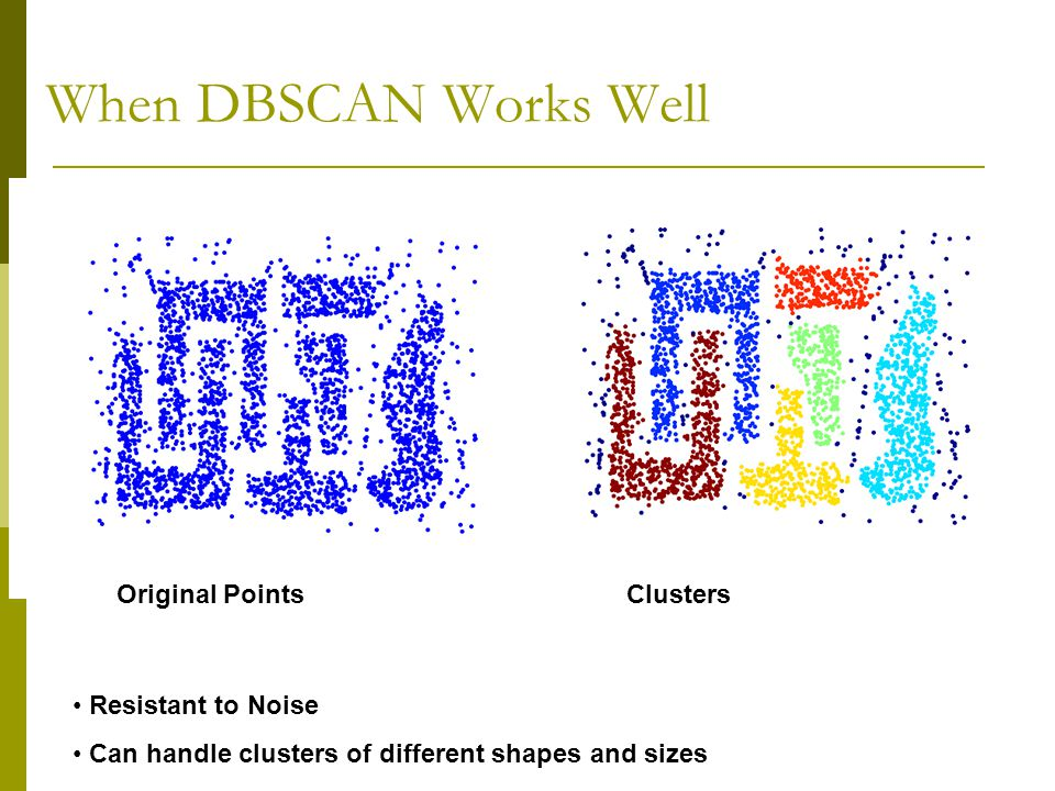 When DBSCAN Works Well Clusters Original Points Resistant to Noise