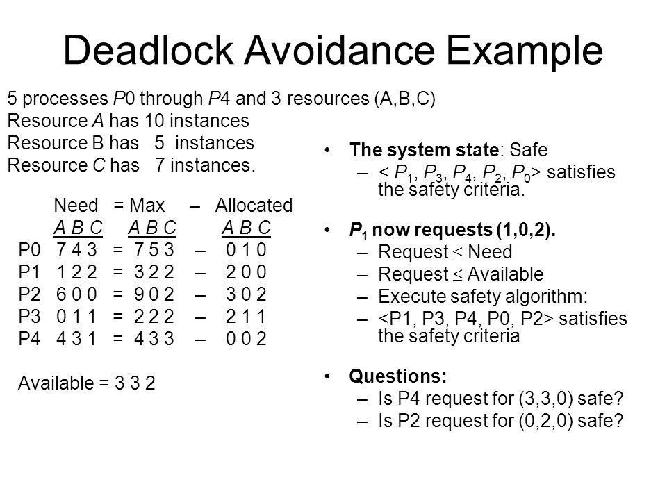 Deadlock Avoidance Example