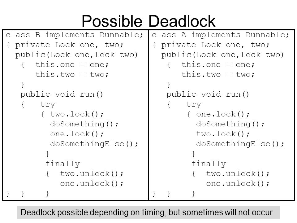 Possible Deadlock class B implements Runnable;