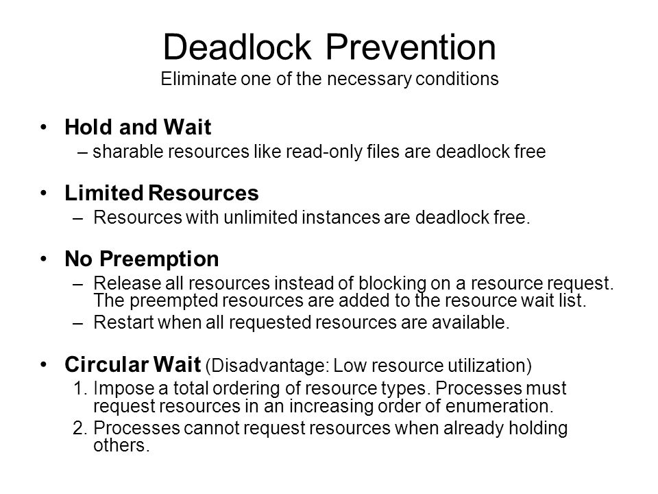 Deadlock Prevention Hold and Wait Limited Resources No Preemption