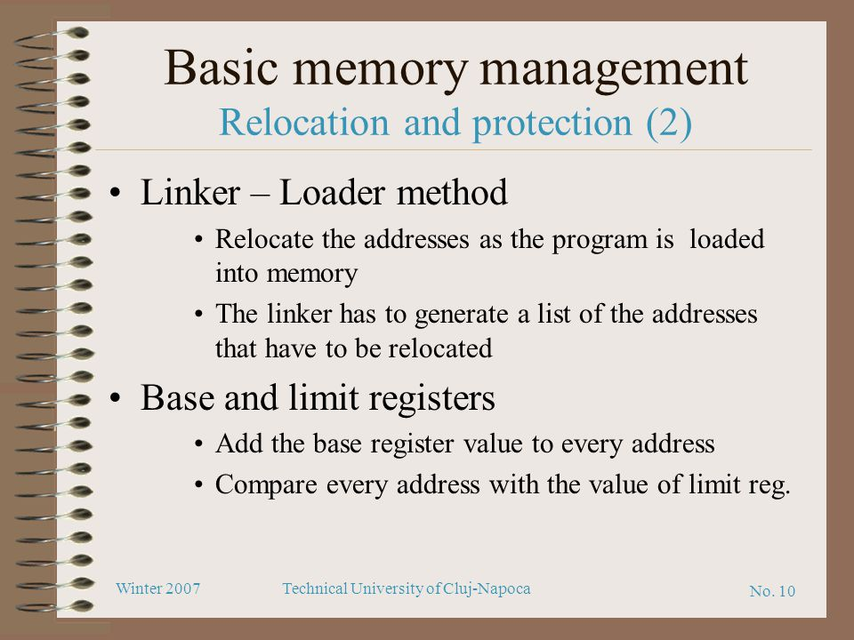 Basic memory management Relocation and protection (2)