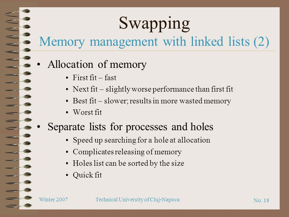 Swapping Memory management with linked lists (2)