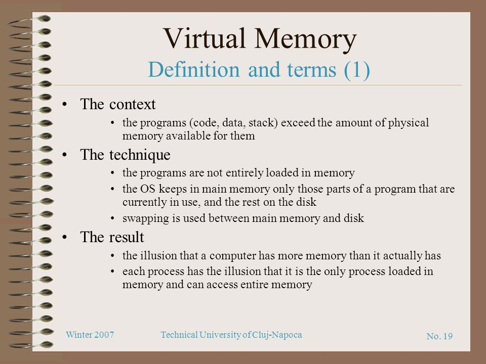 Virtual Memory Definition and terms (1)