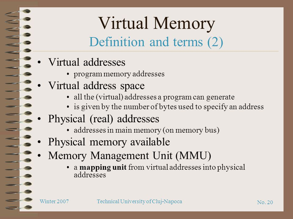 Virtual Memory Definition and terms (2)