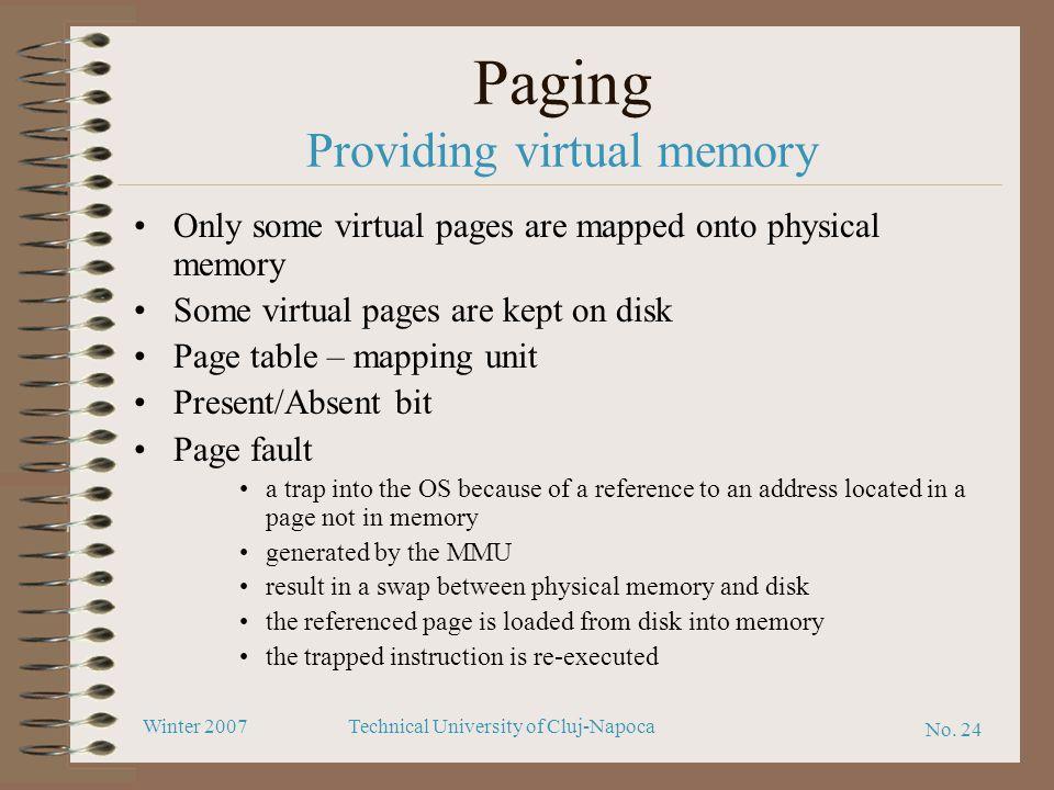 Paging Providing virtual memory