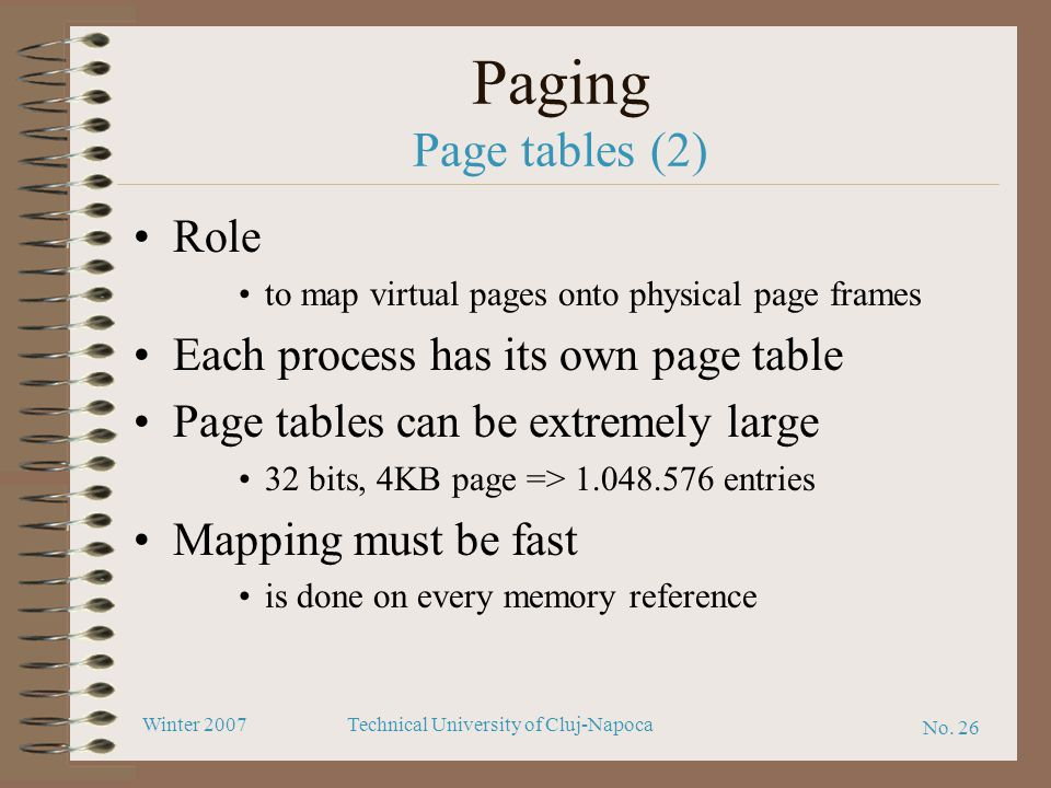 Paging Page tables (2) Role Each process has its own page table