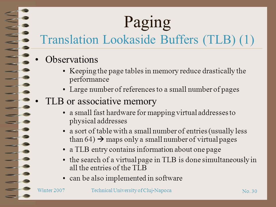 Paging Translation Lookaside Buffers (TLB) (1)