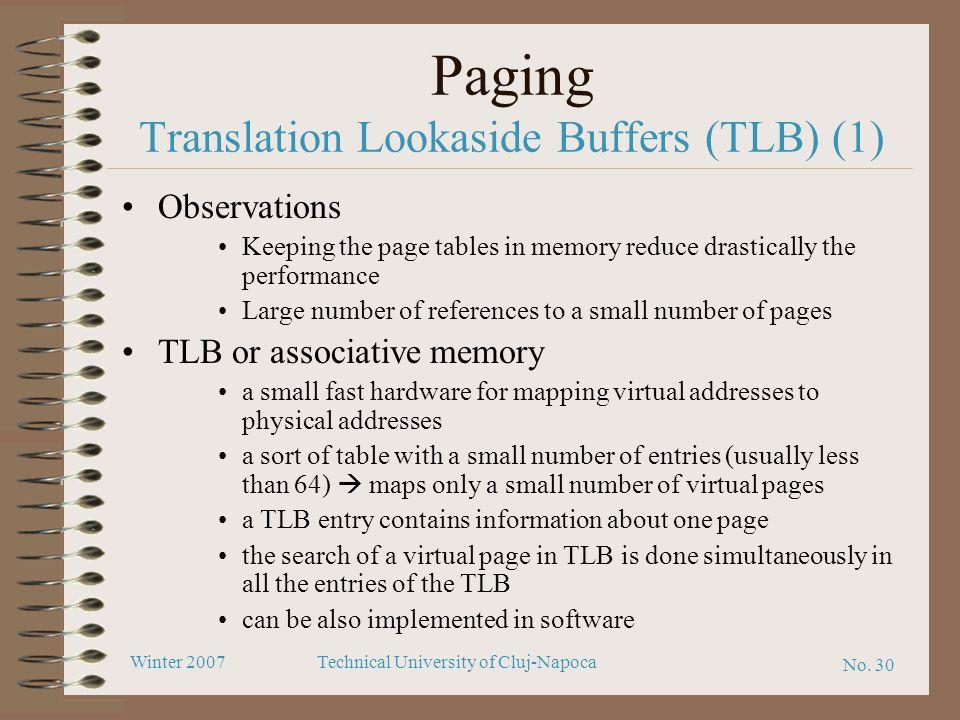 Paging Translation Lookaside Buffers (TLB) (1)