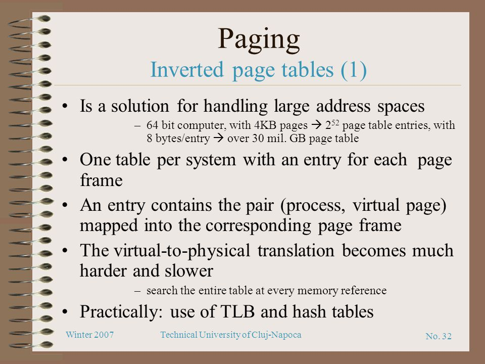 Paging Inverted page tables (1)