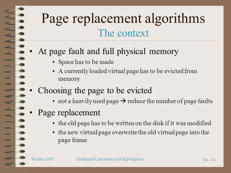 Page replacement algorithms The context