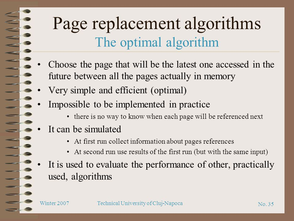 Page replacement algorithms The optimal algorithm