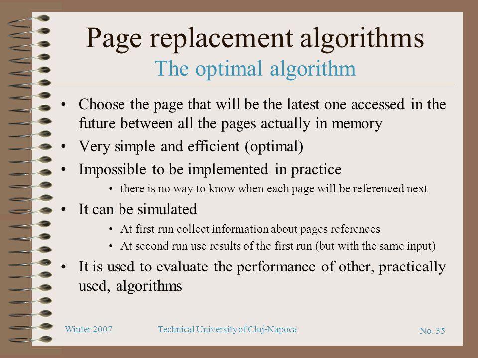 Page replacement algorithms The optimal algorithm