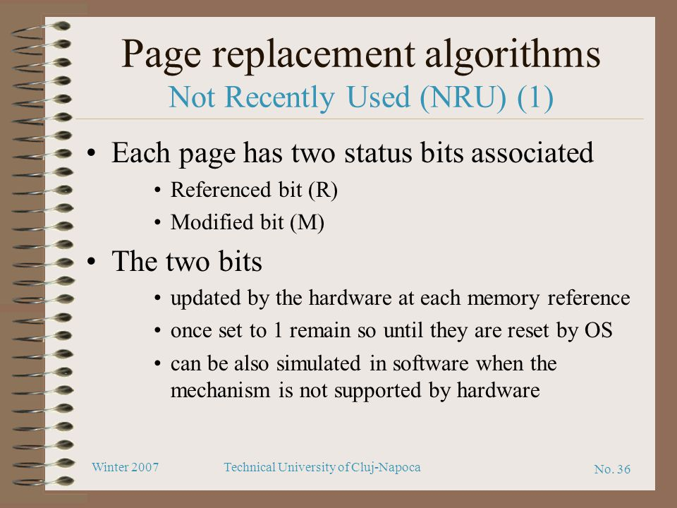 Page replacement algorithms Not Recently Used (NRU) (1)