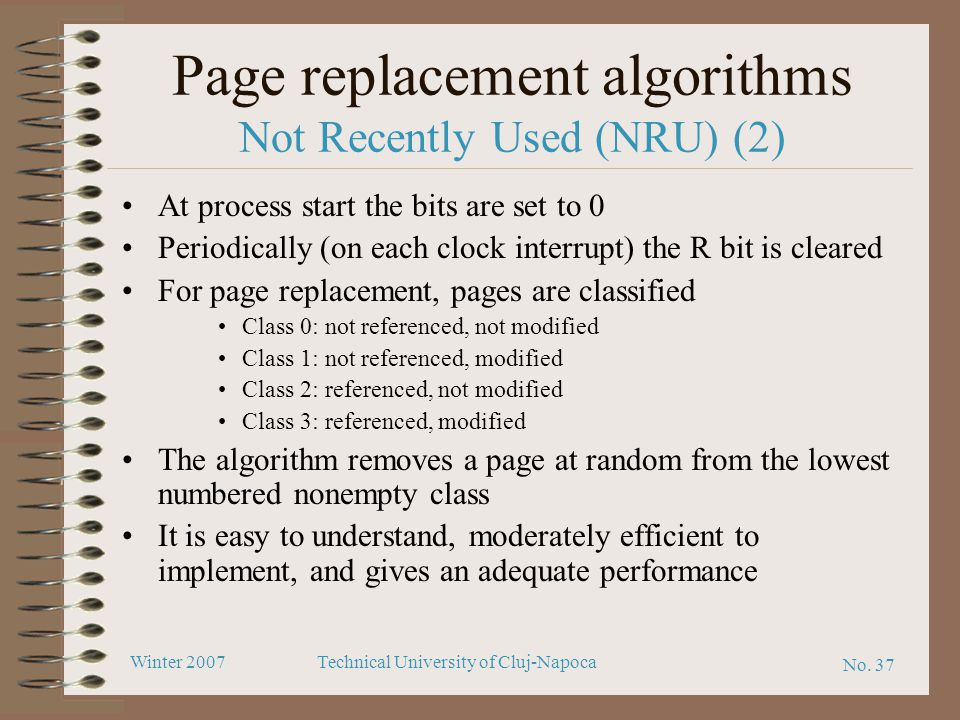 Page replacement algorithms Not Recently Used (NRU) (2)