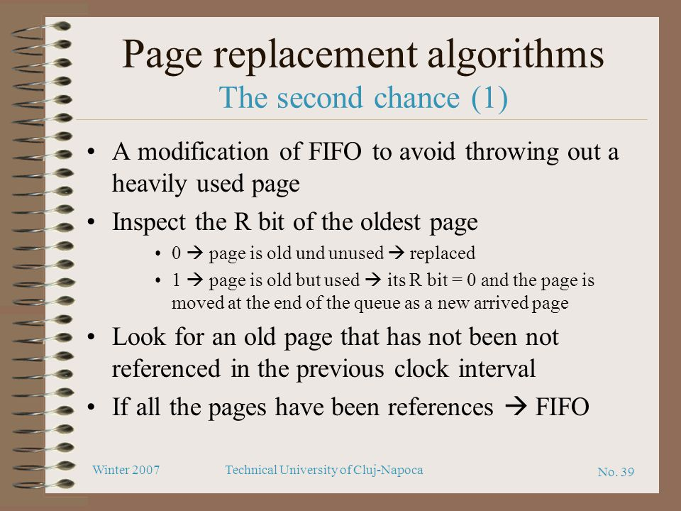 Page replacement algorithms The second chance (1)