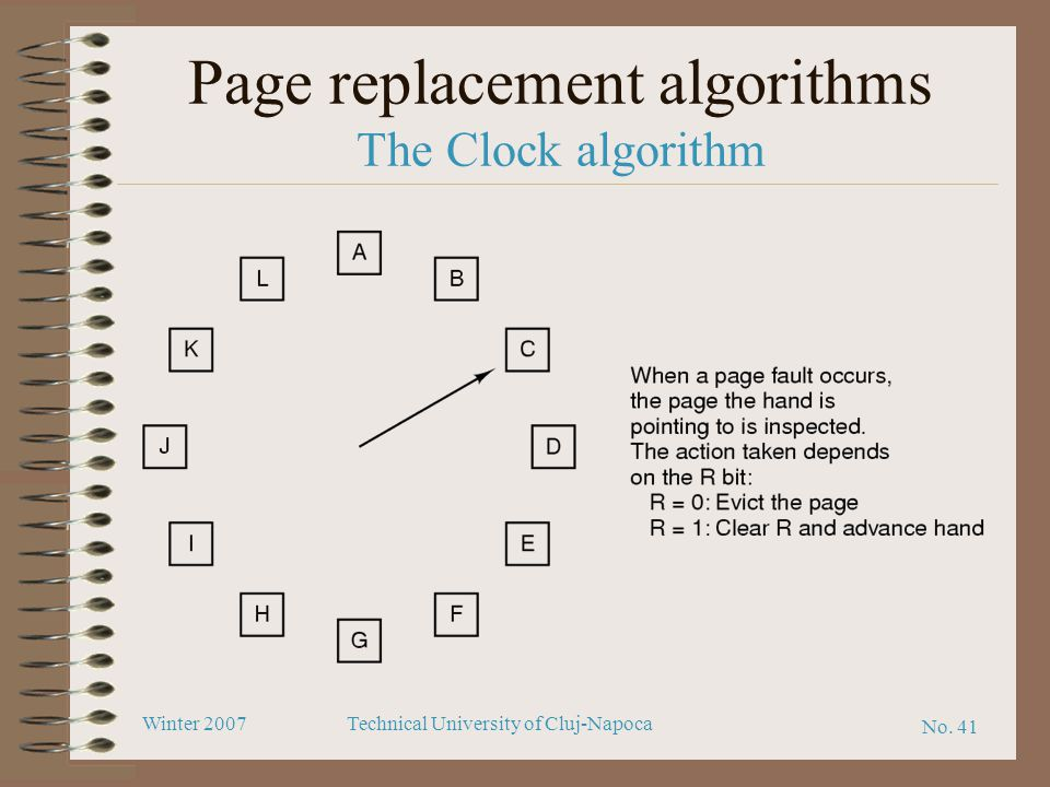 Page replacement algorithms The Clock algorithm