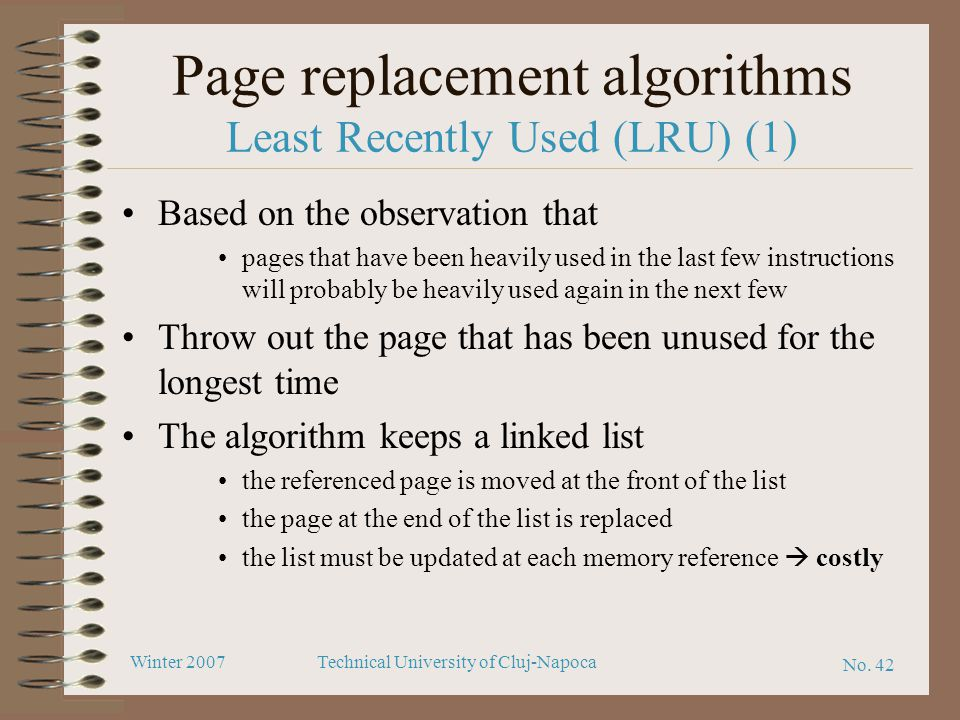 Page replacement algorithms Least Recently Used (LRU) (1)