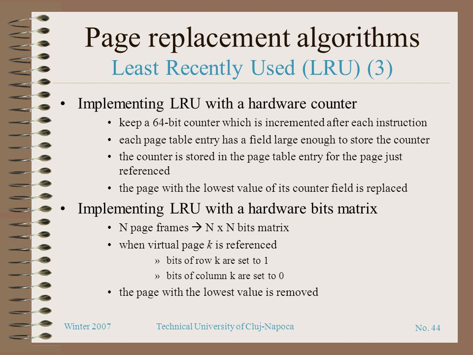 Page replacement algorithms Least Recently Used (LRU) (3)