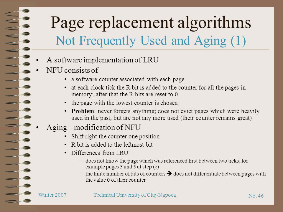 Page replacement algorithms Not Frequently Used and Aging (1)