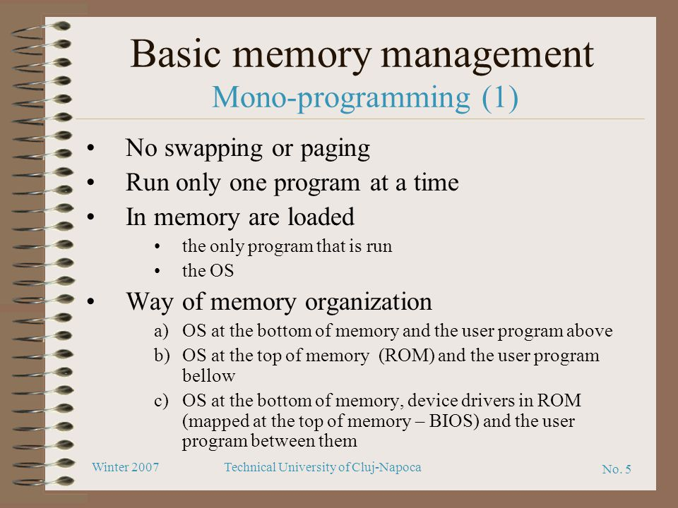 Basic memory management Mono-programming (1)
