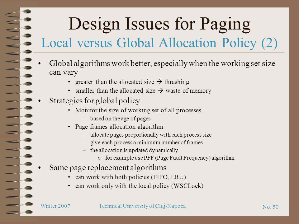 Design Issues for Paging Local versus Global Allocation Policy (2)