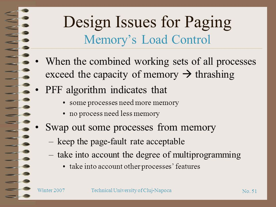 Design Issues for Paging Memory's Load Control