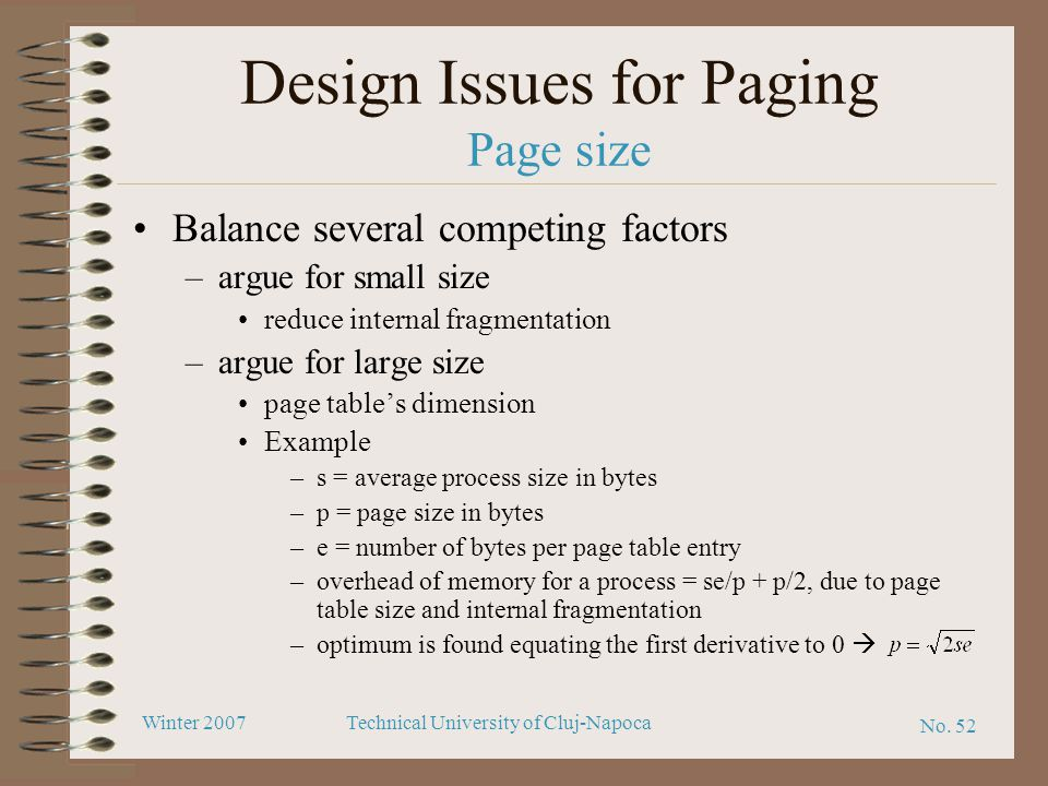 Design Issues for Paging Page size
