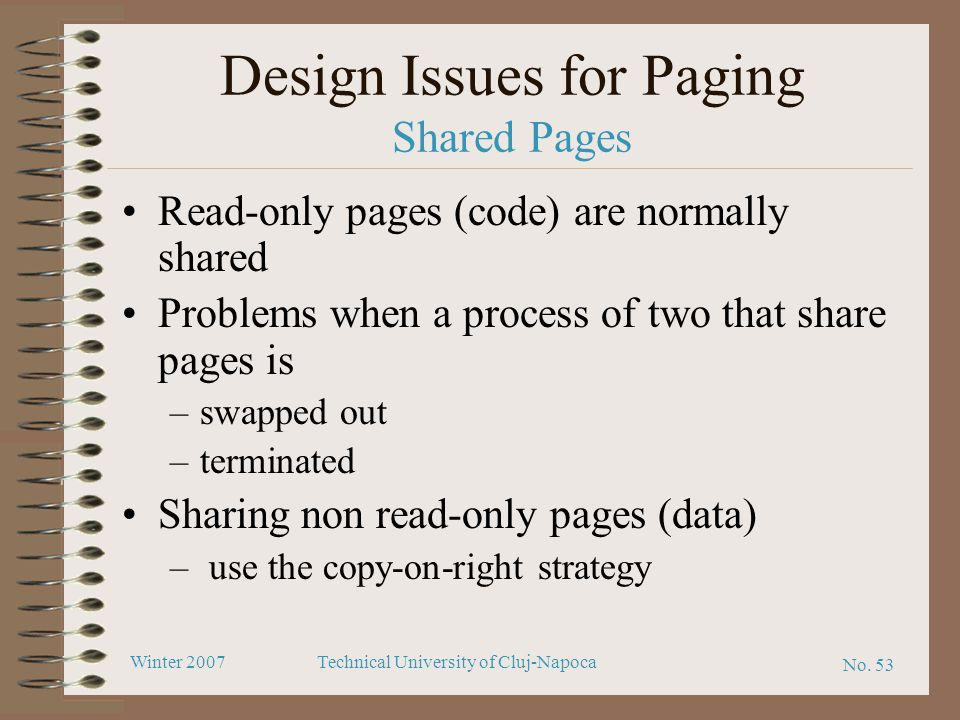Design Issues for Paging Shared Pages