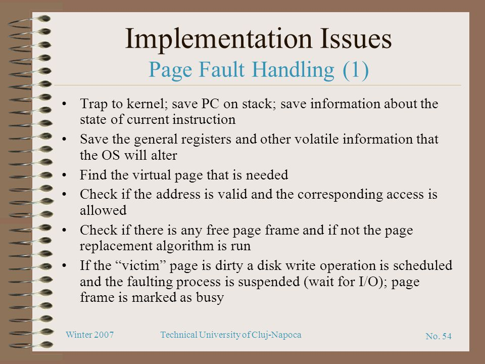 Implementation Issues Page Fault Handling (1)